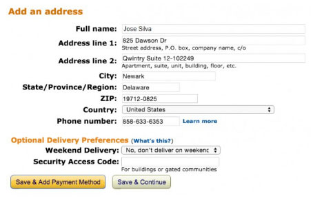 Preenchimento do shipping address na Amazon com o seu endereço nos EUA